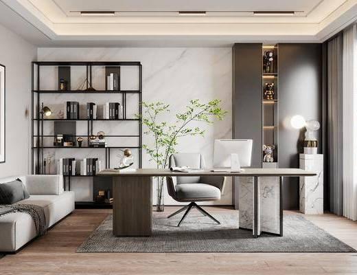现代, 书房, 家装