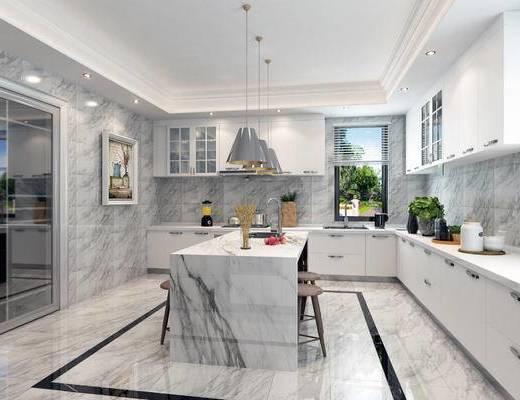现代, 厨房, 橱柜, 吊灯, 吧椅, 吧凳, 厨具, 餐具