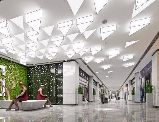 商场通道, 商场走廊, 商场过道, 商场大厅, 现代