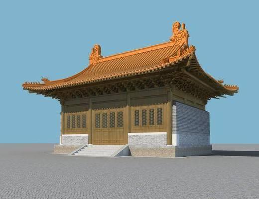 寺庙, 屋檐, 中式, 古建