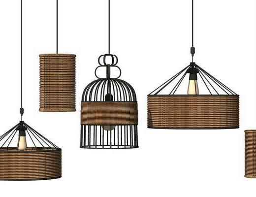 现代, 藤艺, 编织, 吊灯