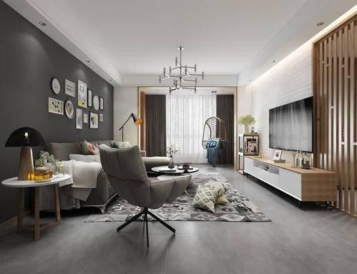 北欧客厅, 沙发茶几组合, 客厅, 沙发, 电视柜, 装饰画, 北欧沙发, 椅子