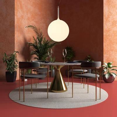 餐桌, 桌椅组合, 吊灯, 植物, 盆栽