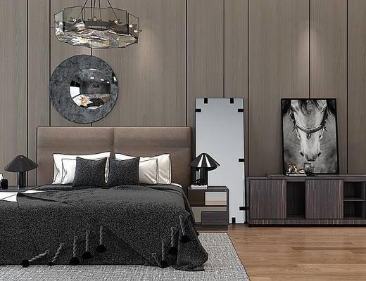 双人床, 床具组合, 吊灯, 墙饰, 边柜, 床头柜