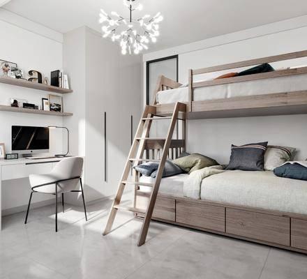 现代, 卧室, 单人床, 电脑桌, 单椅, 置物架