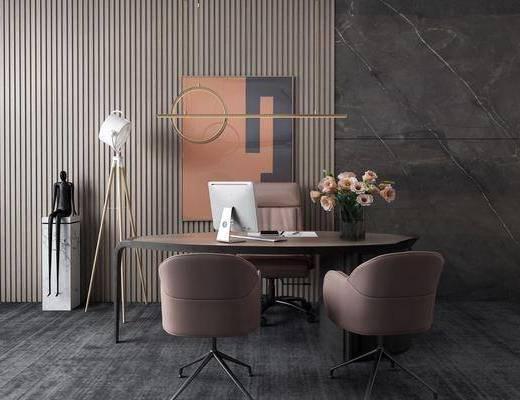 办公桌, 桌椅组合, 吊灯, 摆件组合, 装饰画
