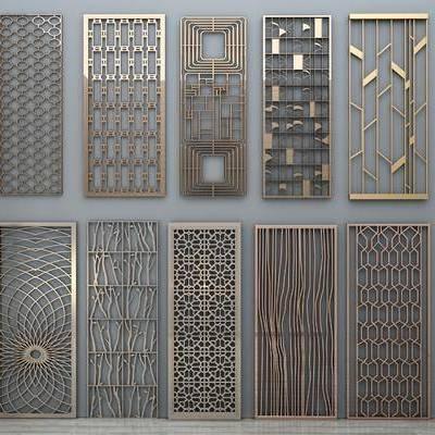 现代金属屏风, 屏风, 隔断, 花格, 现代
