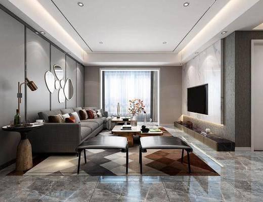 客厅, 多人沙发, 茶几, 凳子, 边几, 台灯, 转角沙发, 花瓶花卉, 墙饰, 装饰品, 陈设品, 现代轻奢