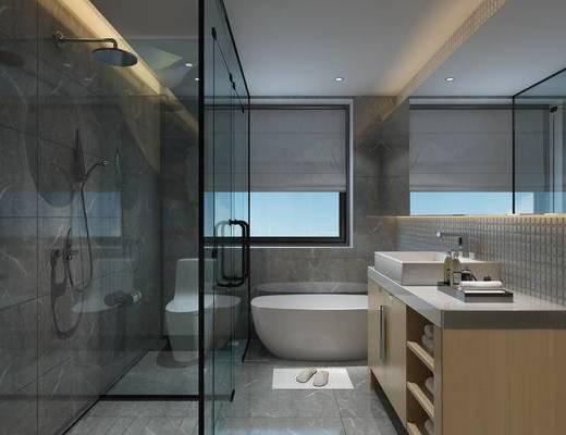 卫生间, 现在, 浴缸, 浴室柜, 摆件