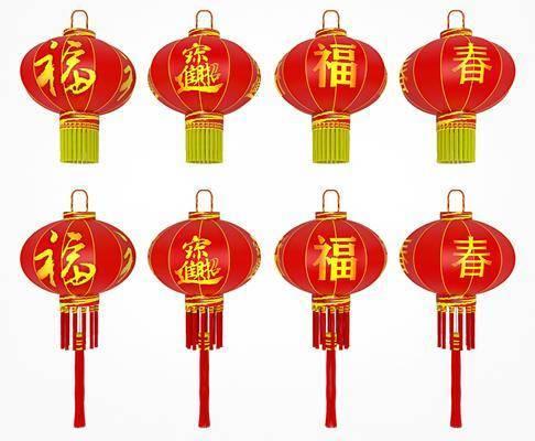 中式, 灯笼, 吊灯, 单体