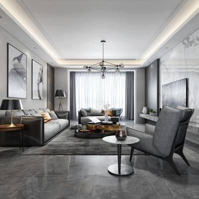 客厅, 餐厅, 多人沙发, 布艺沙发, 单人沙发, 装饰架, 装饰画, 台灯, 吊灯, 摆件, 餐桌, 餐椅, 现代