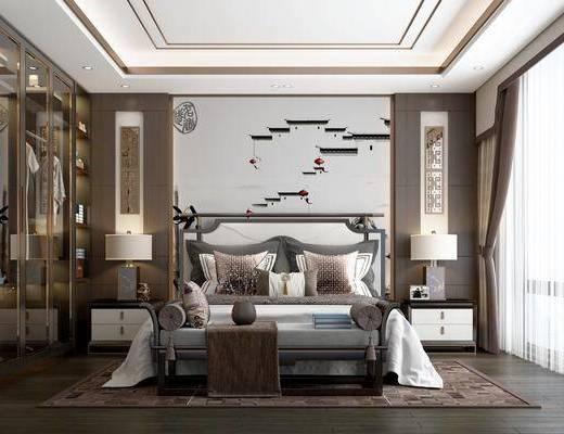 双人床, 背景墙, 床头柜, 衣柜, 台灯