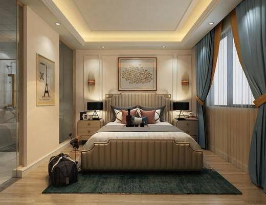 卧室, 双人床, 床头柜, 台灯, 壁灯, 装饰画, 挂画, 美式