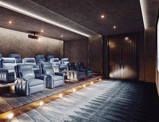 影音室, 单人沙发, 单椅, 阶梯室, 屏幕, 显示屏, 现代