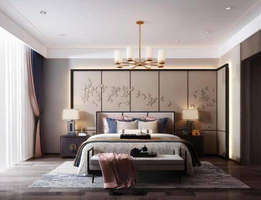 双人床, 背景墙, 吊灯, 床尾踏, 地毯, 床头柜, 台灯