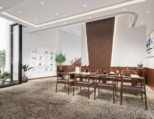 新中式餐厅, 绿植, 挂画, 餐桌椅