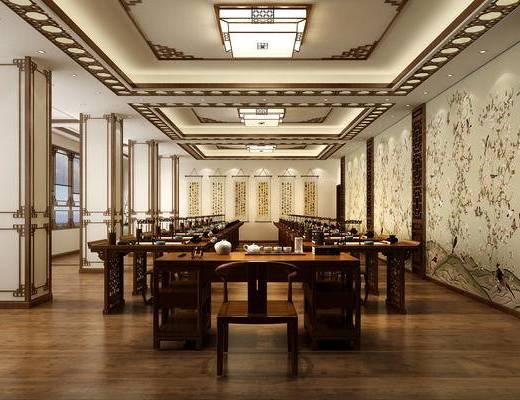 中式, 书法, 教室, 书桌椅, 茶具, 吸顶灯, 字挂画