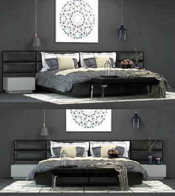 床具组合, 双人床, 床头柜, 挂画, 装饰画, 吊灯, 摆件, 装饰品, 后现代, 尾榻