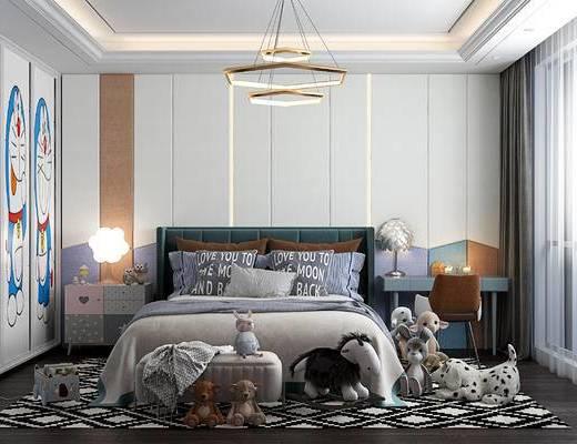 单人床, 衣柜, 床头柜, 台灯, 吊灯, 窗帘, 地毯