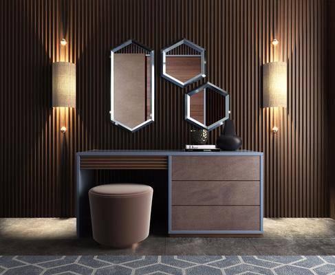 梳妆台, 壁灯, 装饰镜, 凳子, 现代