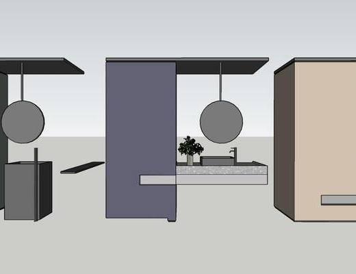 圆镜, 衣柜组合, 洗手台, 摆件组合