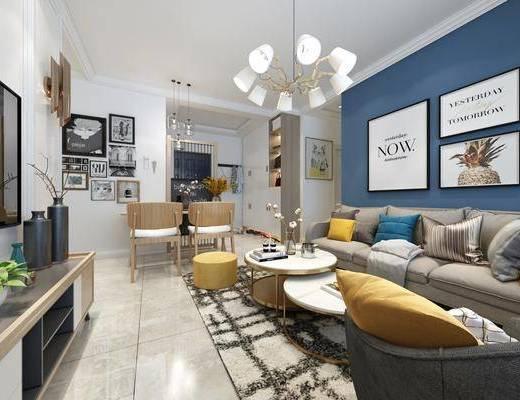 北欧客厅, 北欧餐厅, 沙发茶几, 鞋柜, 餐桌, 椅子, 挂画, 吊灯, 电视柜, 摆件, 花瓶