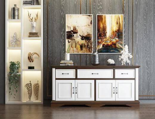边柜, 电视柜, 玄关柜, 置物柜, 陈设品, 摆件, 装饰画, 挂画, 美式