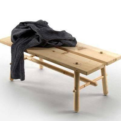 现代实木长凳毛衣组合, 现代, 长凳, 毛衣
