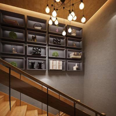 楼梯间, 置物架, 书籍, 摆件, 装饰品, 陈设品, 吊灯, 工业风