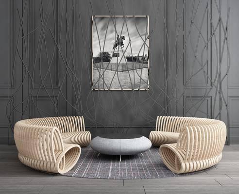 弧形沙发, 茶几, 圆弧沙发, 装饰画, 挂画, 屏风隔断, 隔断组合, 树枝, 现代