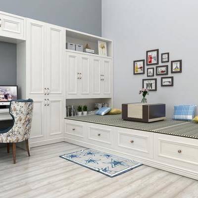 榻榻米, 现代, 书桌椅, 椅子, 照片墙, 置物柜