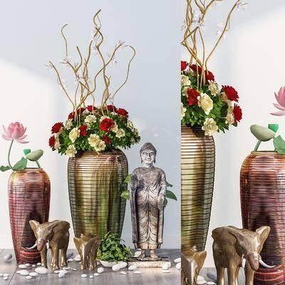 花瓶花卉, 陶瓷器皿, 摆件组合, 装饰品, 陈设品, 东南亚