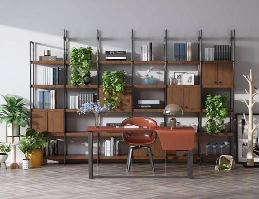桌椅组合, 书柜, 装饰柜, 盆栽, 绿植植物, 书桌, 单人椅, 台灯, 摆件, 装饰品, 陈设品, 工业风