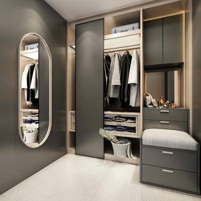 衣帽间, 壁镜, 衣架, 服饰