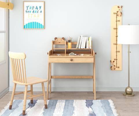 儿童书桌, 桌椅组合, 书籍, 摆件组合, 落地灯, 北欧