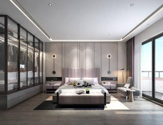 双人床, 背景墙, 壁灯, 书桌, 衣柜, 服饰, 衣架