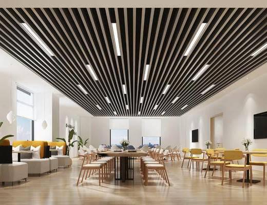 现代阅览室, 桌椅组合, 盆栽