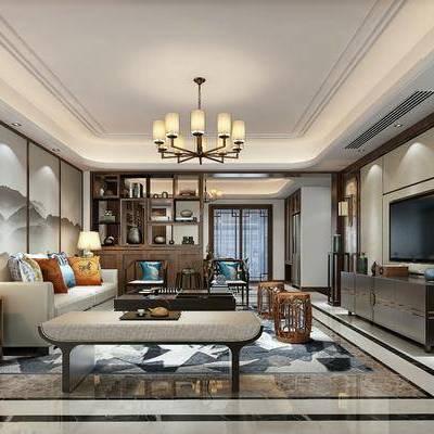 新中式客餐厅, 新中式, 新中式客厅, 新中式沙发组合, 中式吊灯, 电视柜, 花架