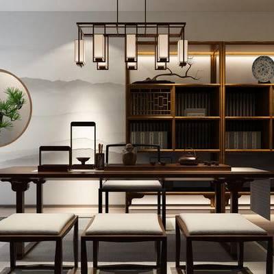 新中式桌椅组合, 新中式吊灯, 新中式盆景, 新中式书架, 书柜, 摆件, 新中式