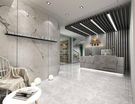 办公室, 工作室, 前台接待, 单人椅, 茶几, 墙饰, 植物墙, 现代