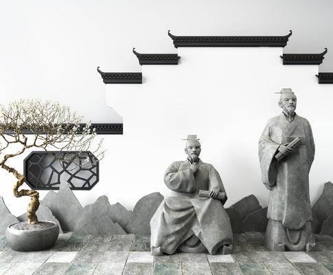 中式古代文人雕塑, 中式盆栽, 马头墙, 雕塑