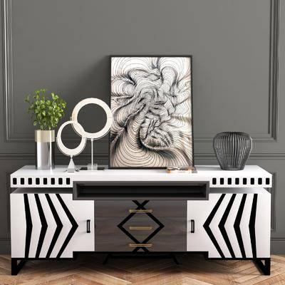 柜架, 端景台, 摆件组合, 装饰画