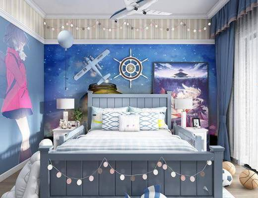 兒童房, 臥室, 床具組合, 桌椅組合, 書架組合, 玩偶組合, 地中海