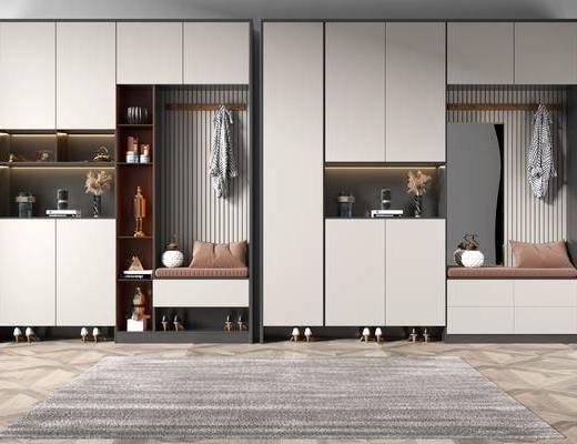 現代, 簡約, 鞋柜, 柜架, 組合