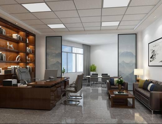 办公室, 大班台, 办公桌, 办公椅, 单人椅, 多人沙发, 茶几, 边几, 台灯, 单人沙发, 风景画, 装饰画, 挂画, 盆栽, 绿植植物, 电脑桌, 会议桌, 现代