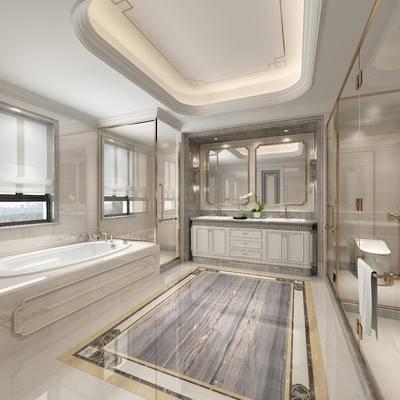 洗手台, 卫浴, 浴缸, 壁镜
