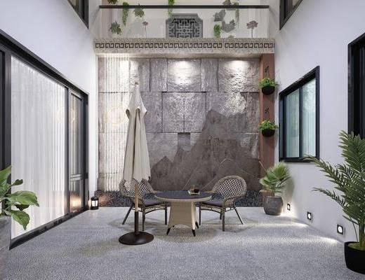 庭院, 盆栽, 绿植植物, 茶几, 单人椅, 休闲椅, 新中式