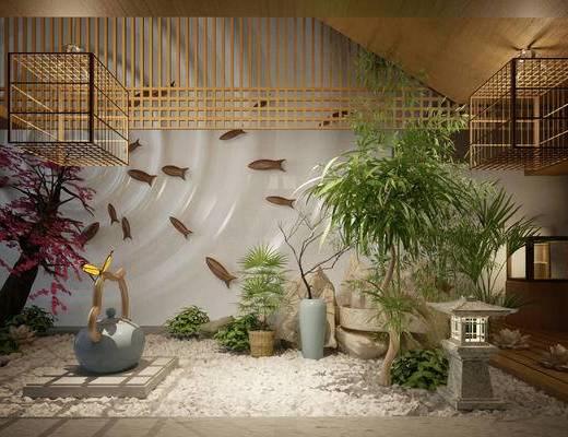 园艺小品, 日式, 中式, 树, 墙饰, 吊饰, 盆栽