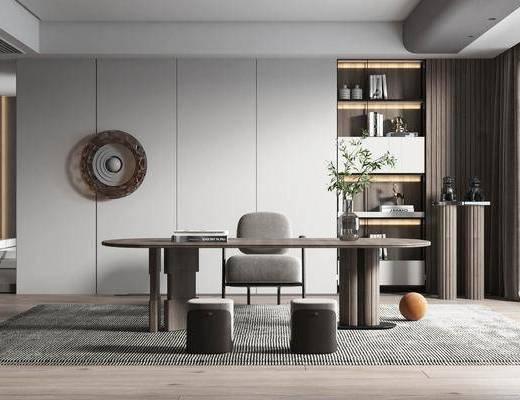 现代书房, 办公桌, 书柜