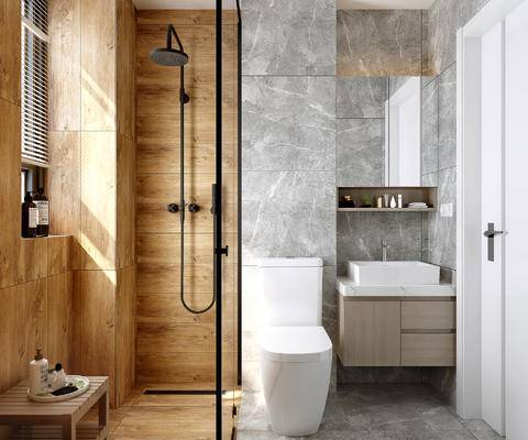 马桶, 洗手台, 花洒, 浴室柜, 百叶窗, 淋浴隔断